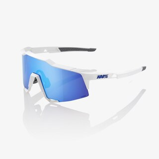 100% Speedcraft Long Lens Glasögon Matt Vit, HiPER Blue Mirror Lins
