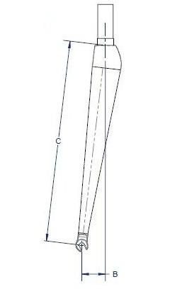 "Aerlite 29"" Carbon Gaffel Matt sort, Tapered, 9 mm aksling, 550 gr"