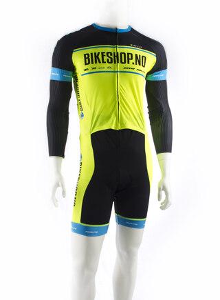 ATLET Pro Bikeshop Skin Suit Signalgul/sort, 3 Lommer, Korte ermer