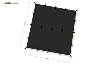 DD Hammocks Tarp Sort, 300 x 300 cm, 790g