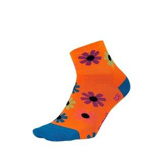 "DeFeet Aireator 2"" Dame Sokker Neon Orange/Process Blue, Str. M"