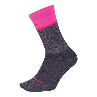 """DeFeet Wooleator Comp 6""""' Sokker Gravel Grey/Neon Pink, Str. S"""