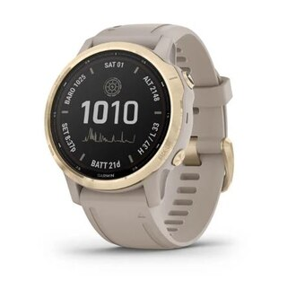 Garmin Fenix 6S Pro Solar GPS-Klocka Guld, Sandfärgat rem