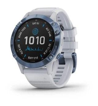 Garmin Fenix 6 Pro Solar GPS-Klocka Mineralblå, Vit rem