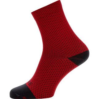 Gore C3 Dot Mid Sykkelsokker Red/Black, Str. 44-46