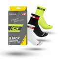 GripGrab Tricolore Regular 3-Pack Sokker Sort, Hvit, Hi-Vis