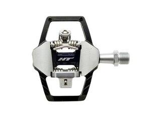 HT GT1 Pedal Sort, Alu, 4-pins, m/cleats,410gr