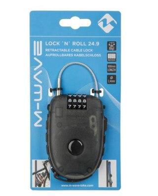 M-Wave LockNRoll  Sykkellås Sort, 900mm x 2,4mm , kode, 88g