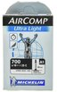 Michelin AirComp Ultra Light Slange Butyl, 18/25x622, 40 mm presta, 75 gr