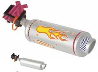 M-Wave Kids Eksospotte Sølv, lager lyd, klistremerker medfølger