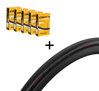 2 Pirelli P Zero VeloTT dekk + 5 Slanger Pakketilbud