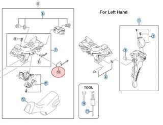 Shimano Vajer Skydd För växelreglagekropp, Vänster