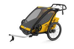 Thule Chariot Sport 2 Sykkel Barnevogn Gul, m/sykkelsett, Toppmodell