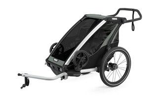 Thule Chariot Lite 1 Sykkel Barnevogn Grå/Blå,  m/sykkelsett, Lett og enkel