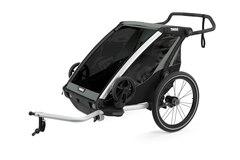 Thule Chariot Lite 2 Sykkel Barnevogn Grå/Blå,  m/sykkelsett, Lett og enkel